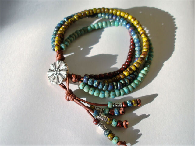 Red Blue Green & Turquoise Picasso 4 Strand Beaded Leather Wrap Bracelet
