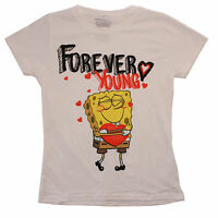 Spongebob Squarepants Forever Young White T-Shirt Juniors Size Extra Large - XL