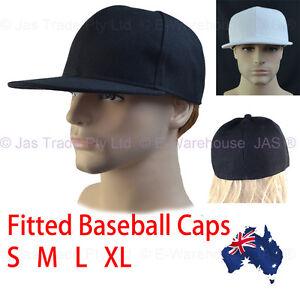 Plain-Fitted-or-Snapback-Baseball-Hip-Hop-Sports-Hat-Flat-Peak-Brim-S-M-L-or-XL
