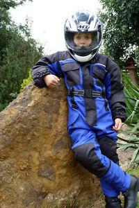 Baby-Biker-Kids-Childrens-Textile-X-Tenda-Suit-Waterproof-Armour-Blue-Faulty2-T
