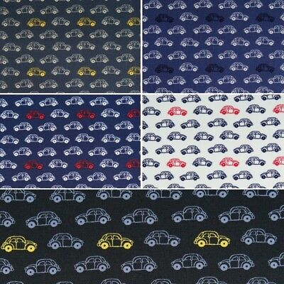 100/% Cotton Poplin Fabric by Fabric Freedom VW Beetle Style Vintage Cars