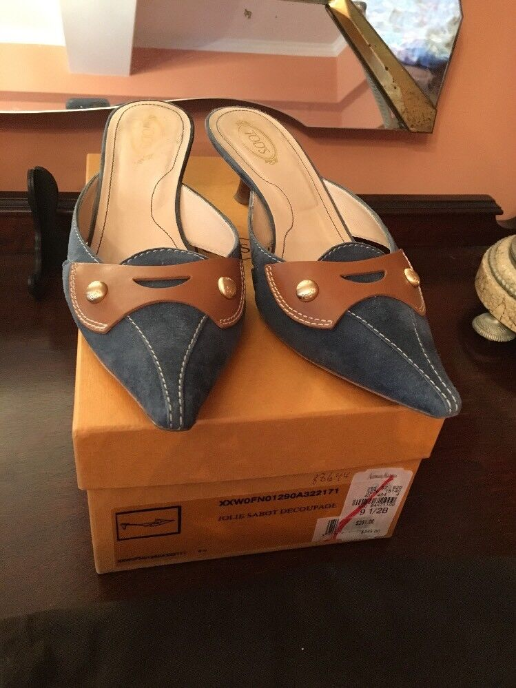 TODS bluee Suede & Brown Leather Leather Leather Mule Sandals, Size 9, 5. Made in  1eb7c6
