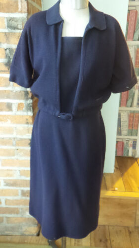 Vintage Navy Knit Dress & Sweater by Goldworm