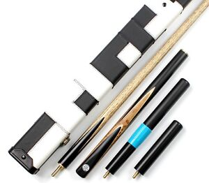 57-034-TOP-3-4-BURL-AND-EBONY-WOOD-SNOOKER-POOL-CUE-WITH-CASE-EXTENSION