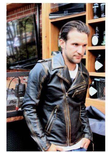 Mens Biker Vintage Motorcycle Distressed Cafe Racer Real Leather Jacket