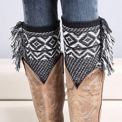 1 pair Woman's Crochet Knitted Tassel Trim Boot Cuffs Toppers Leg Warmers Socks