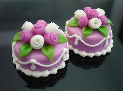 2 Orange Round Cake Top Rose Blossom Dollhouse Miniatures Food Deco 1.80 cm