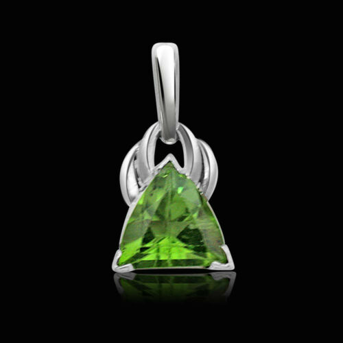 Trillion Shaped Green Peridot Gemstone Pendant in 925 Sterling Silver SDS94