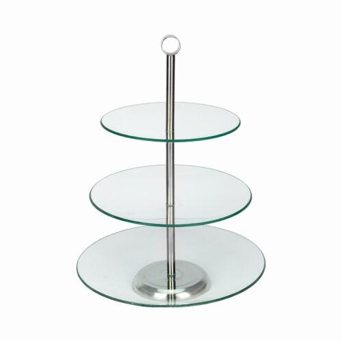 Kuchenplatte Servierplatte Tortenplatte Glasplatte Glas 3-stöckig Platte
