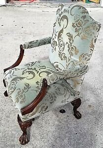 Antique-Chippendale-Style-French-Burnout-Velvet-Claw-amp-Ball-Bergere-Armchair
