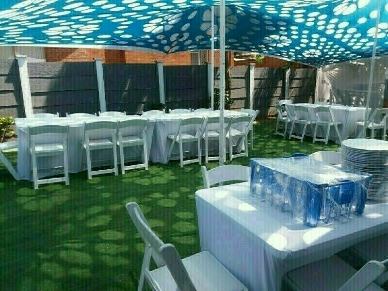 CHAIRS, TABLES, LINEN, CUTLERY, CROCKERY HIRE. ALSO COUCHES, OTTOMANS, UMBRELLAS & MORE FOR HIRE