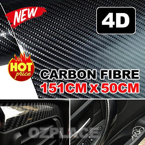 50cm x1.51M 4D Gloss Black Carbon Fibre Fiber Vinyl Car Wrap Air Release Film OZ