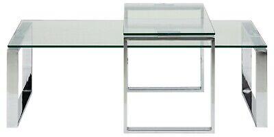 2 Satz Couchtisch Katrine 9514 Glas Metall Chrom Beistelltisch Stubentisch Tisch
