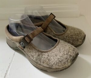 MERRELL-Womens-Encore-MJ-Wool-Brindle-Shoes-Sz-8-Heathered-Beige-Mary-Janes