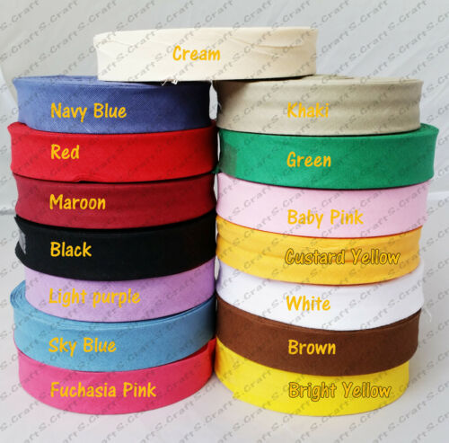 1 INCH COTTON BIAS BINDING BUNTING QUILT SEWING EDGING TRIMMING TAPE 25 MTR ROLL
