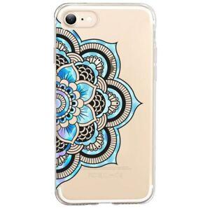 Coque Iphone 7 8 SE 2020 mandala 2 bleu pastel
