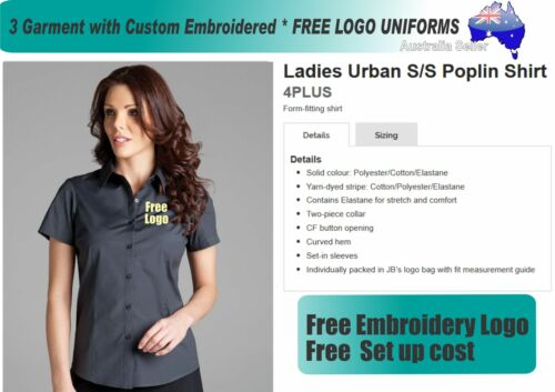 3 Cus JB Ladies Blouses with Your Embroidered FREE YOUR LOGO 325