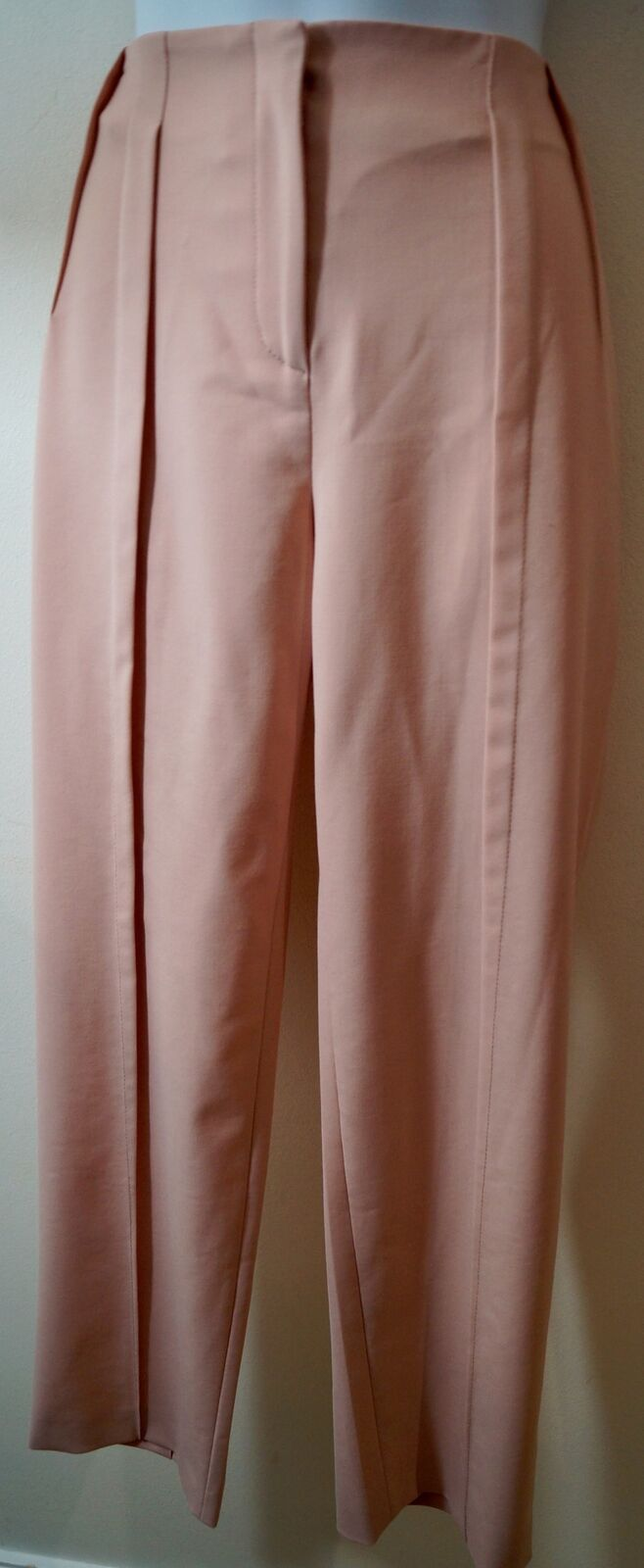 PHILOSOPHY Baby Pink Pleat Detail Tapered Crop Formal Trousers Pants IT44; UK12