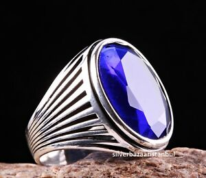 Turkish Jewelry 925 Sterling Silver Blue Sapphire Mens Mans Ring us ALL SİZE USA
