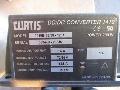 CURTIS CONVERTOR DC//DC 1410E 72//96-12VL NIB
