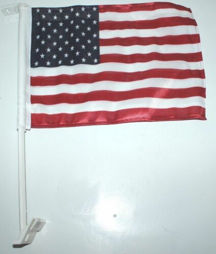 """American Flag on plastic pole with attached hook 15/"""" inches x 11/"""" inches"""