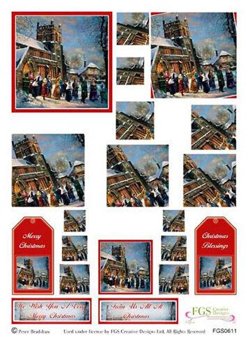 Snowy Church Scene Christmas Twister Decoupage Sheet  12