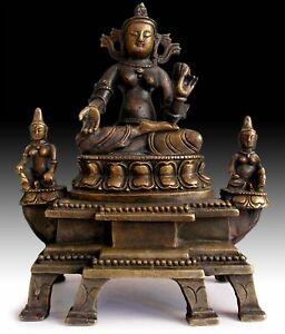 Qing-Longevity-White-Tara-Goddess-Vintage-Chinese-Trinity-Bronze-Shrine-8-034-H