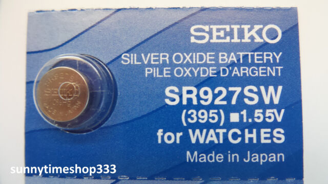 SR927SW/395, Seiko Watch Battery, Made in Japan, Silver Oxide, 1.55V