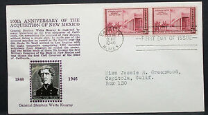 US-Crosby-Cachet-Cover-FDC-General-Kearny-Pair-3c-USA-First-Day-H-7549