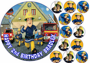 fireman sam personalised birthday cake cupcake topper decoration edible icing ebay. Black Bedroom Furniture Sets. Home Design Ideas