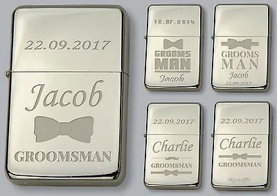 Ingegnoso Groomsman Personalised Petrol Lighter - Free Engraved Wedding Gift Firm In Structure
