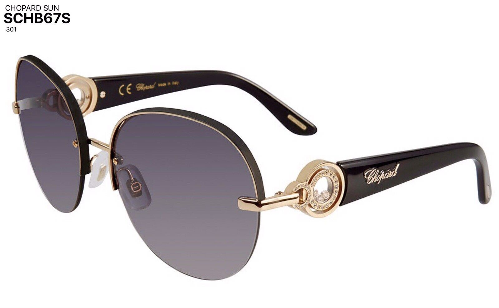 Chopard Sunglass SCHB67S 301 Black and Gold / Grey Gradient Lenses, NEW