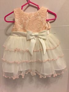 RARE-EDITION-BABY-DRESS-LACE-PEACH-Easter-Sleeveless-Bow-Infant-Girl-Sz-3-6-M