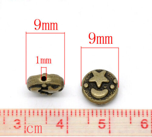 Moon And Star 9mm Antiqued Bronze Spacer Beads B3724-20 50 Or 100PCs