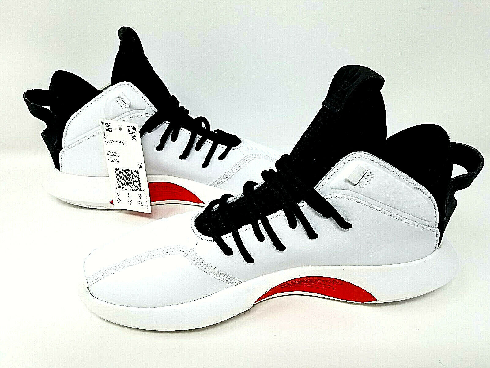 NEW adidas Crazy 1 ADV J White Black Red Basketball shoes - Originals