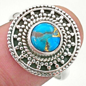2.43cts Solitaire Blue Copper Turquoise 925 Sterling Silver Ring Size 8 T41408