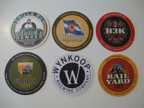 6 Beer Bar Coaster WYNKOOP Brewing Rail Yard Ale GORILLA Education & Benefit