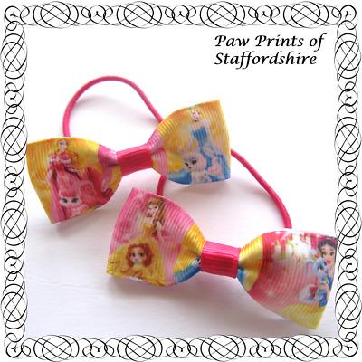 Pair of Hair Bows *SALE* Handmade Princess Character Ribbon Bow Clip *Clearance*