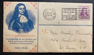 1932-Philadelphia-USA-First-Day-Cover-FDC-William-Penn-Landing-Anniversary