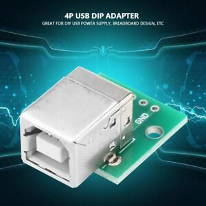 10Pcs-USB-to-DIP-Adapter-Board-Type-B-Female-Socket-4-Pin-2-54mm-Pitch-Durable