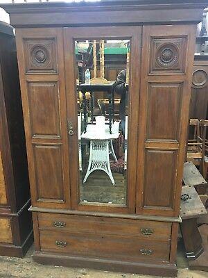 Antique Scottish Mahogany Wardrobe Armoire Mirror Door Old Original Aberdeen Ebay