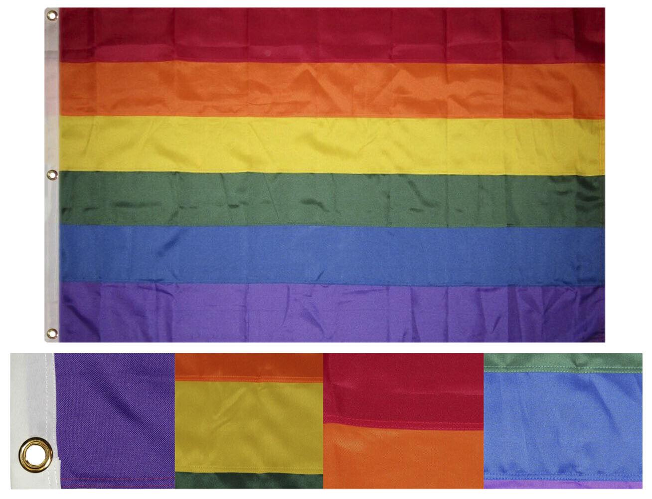 4x6 Bordado Cosidas Orgullo Gay Arco Iris Sintético Algodón Flag 1.2mx6' W