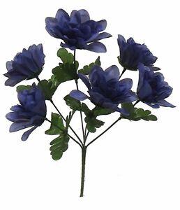 72-DAHLIA-Flowers-BLUE-Silk-Flower-Bush-Wedding-Bridal-Bouquet-Centerpiece