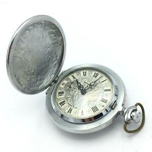 Vintage MOLNIJA Retro Pocket Watch USSR TESTED Floral Soviet Collectible Men's