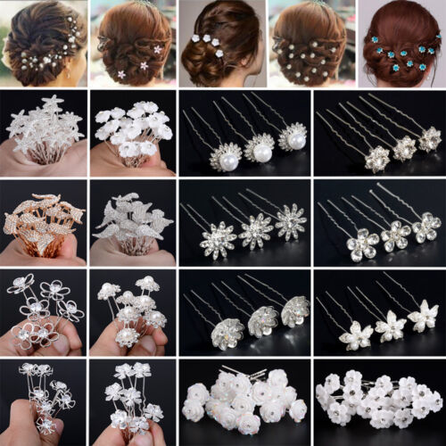 20X Damen Haarnadeln Kristall Haarschmuck Perlen Brautschmuck Haarklammer Paket