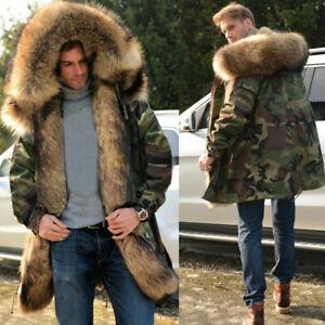 67120fc963c6 Roiii Men's Coat Hooded Fur Lining Parka Winter Thick Warm Jacket ...