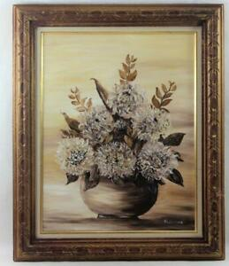 Vintage-1976-Signed-Redemeier-Oil-on-Canvas-Painting-Beautiful-Flowers-19-039-x-23-034