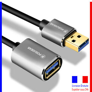 Cable-Rallonge-POSUGEAR-USB-3-0-2M-Male-A-vers-Femelle-A-Extension-Plaque-Or