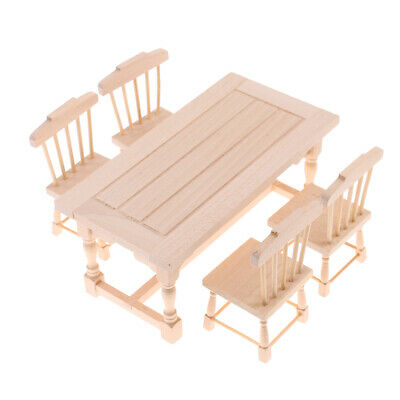 Dollhouse Dining Room Kitchen Furniture Natural Dining Table Chairs Set 1//12