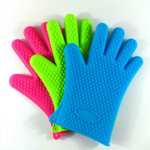 Kitchen Silicone Heat Resistant Gloves Oven Grill Pot Holder BBQ Cooking Mitts